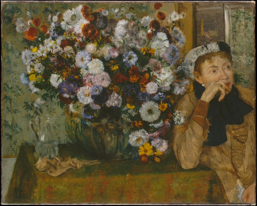 Edgar Degas_Woman Seated besides a Vase of Flowers_1865