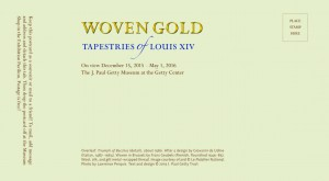 Postcard design 2 for the exhibition Woven Gold: Tapestries of Louis XIV (back)